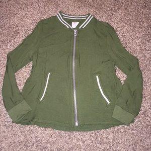 NWOT Long sleeve green girls zip up top